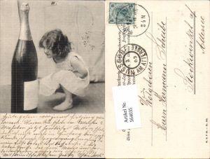 564035,tolle Künstler AK Jugendstil Kind Sekt Sektflasche Neujahr