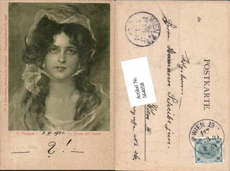 564058,tolle Künstler AK Jugendstil H. Torggler Frau Portrait pub Ackermann 978