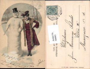 564063,tolle Künstler AK Jugendstil Neujahr Schneemann Frau Muff Hut Zigarette Zylinder pub Stroefer 339-1