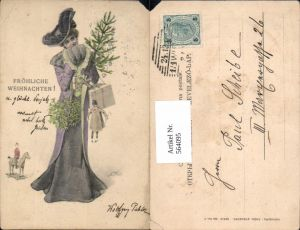 564095,tolle Künstler AK Jugendstil Th. Zasche Frau Puppe Weihnachten Kleid Schaukelpferd