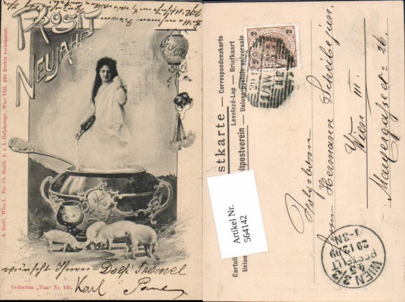 564142,tolle Künstler AK Prosit Neujahr Frau Ferkel Sylvester Sekt sign. Scolik Collection Vlan