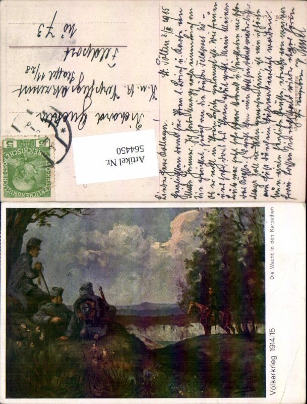 564450,Künstler AK Völkerkrieg 1914/15 Wacht in d. Karpaten Kavallerie Patriotik