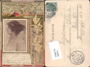 564613,tolle Jugendstil Lithographie Frau Art Nouveau Künstler AK