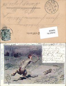 564628,Künstler AK Lithographie Philipp & Kramer XXV/5 A. P. Krampus Teufel Jagd