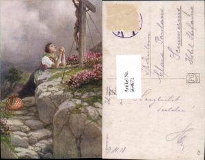 564671,Künstler AK C. Benesch Glaube Beten Frau Kreuz Marterl
