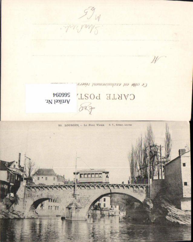 566094,Straßenbahn Lourdes Le Pont Vieux Brücke Reklame Chocolat Louit