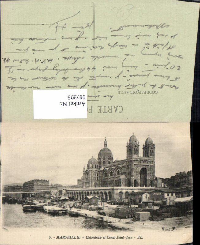 567395,Marseille Cathedrale et Canal Saint-Jean Kanal Schiffe Boote Hafen