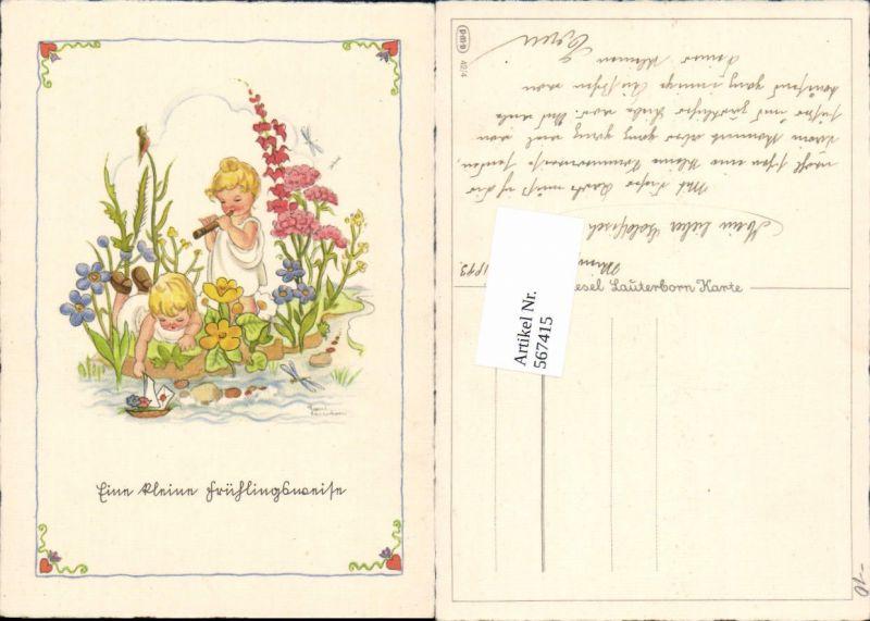567415,Künstler AK Liesel Lauterborn Kinder Flöte Schiff Blumen