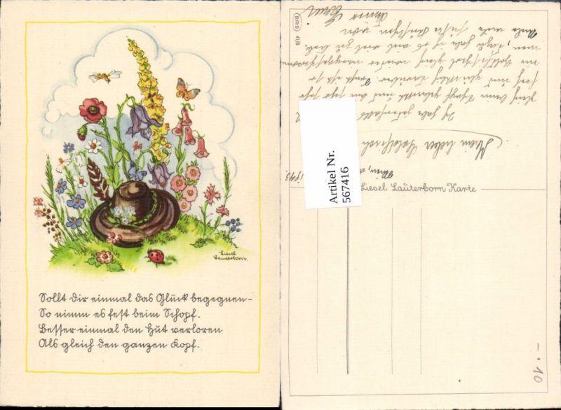 567416,Künstler AK Liesel Lauterborn Hut Blumen Schmetterling