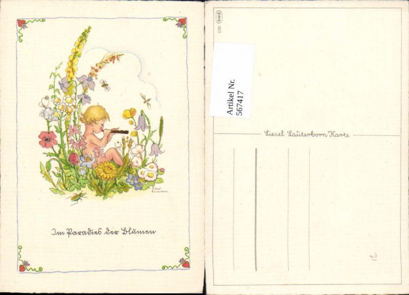 567417,Künstler AK Liesel Lauterborn Kind Flöte Blumen