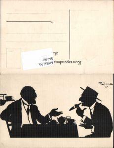 567462,Künstler AK Theo Zasche Silhouette Scherenschnitt Rauchen Zigarre
