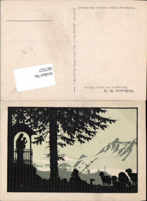 567557,Künstler AK Josefine Allmayer Scherenschnitt Silhouette Künstlerkarte 62