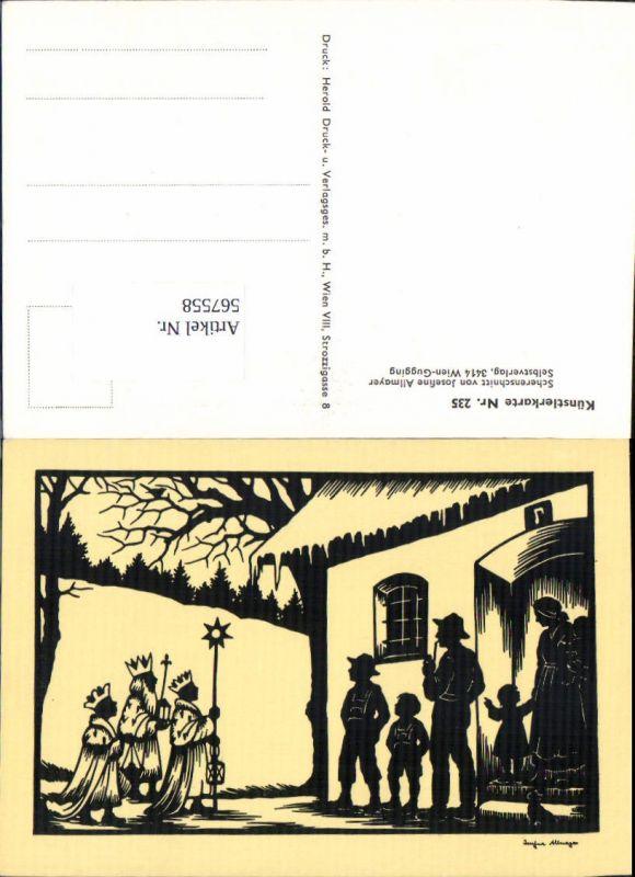 567558,Künstler AK Josefine Allmayer Hl. Drei Könige Scherenschnitt Silhouette Künstlerkarte 235