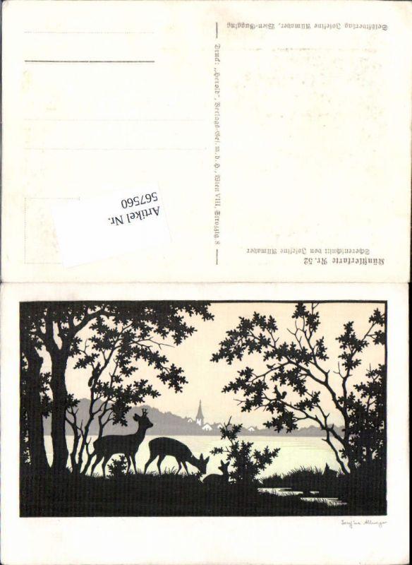 567560,Künstler AK Josefine Allmayer Scherenschnitt Silhouette Jagd Rehe Künstlerkarte 52