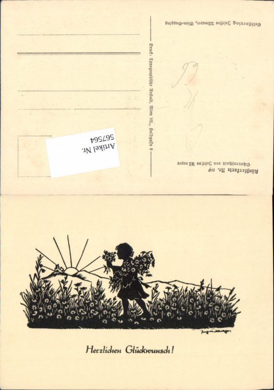 567564,Künstler AK Josefine Allmayer Scherenschnitt Silhouette Künstlerkarte 119