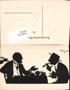 567565,Künstler AK Theo Zasche Rauchen Männer Scherenschnitt Silhouette