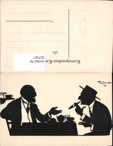 567567,Künstler AK Theo Zasche Rauchen Männer Scherenschnitt Silhouette