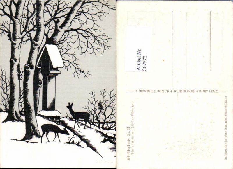 567572,Künstler AK Josefine Allmayer Scherenschnitt Silhouette Bildstock Künstlerkarte 37