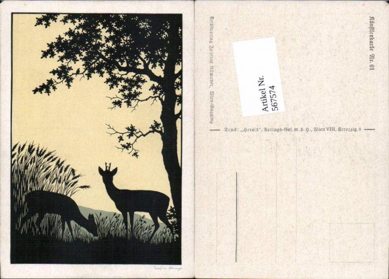 567574,Künstler AK Josefine Allmayer Rehe Wild Jagd Scherenschnitt Silhouette Künstlerkarte 61