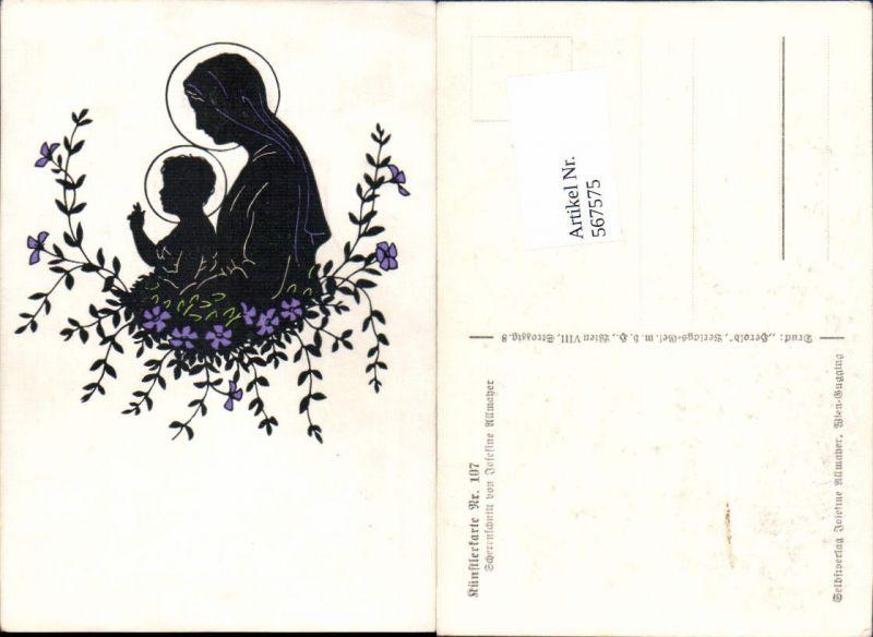 567575,Künstler AK Josefine Allmayer Scherenschnitt Silhouette Künstlerkarte 107