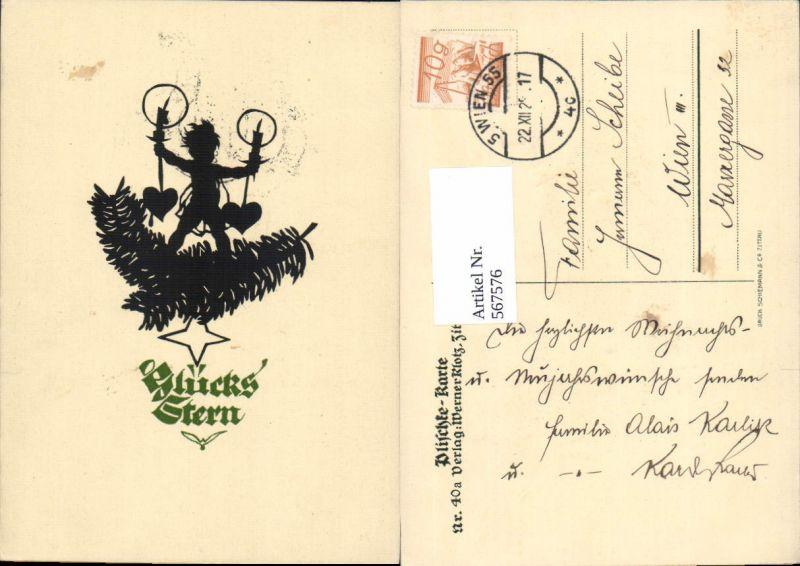 567576,Künstler AK Scherenschnitt Silhouette Engel pub Georg Plischke 40a
