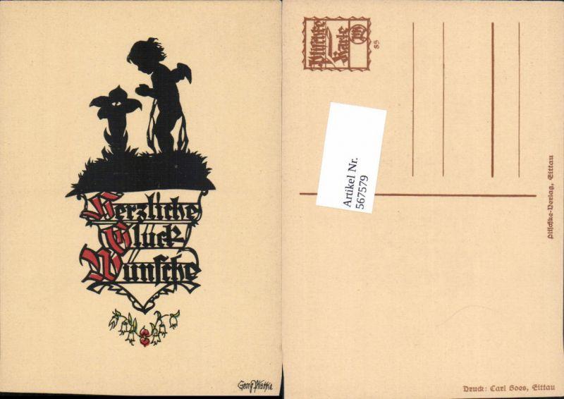 567579,Künstler AK Scherenschnitt Silhouette Engel pub Georg Plischke 85