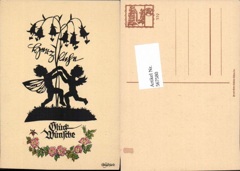 567580,Künstler AK Scherenschnitt Silhouette Engel pub Georg Plischke 379