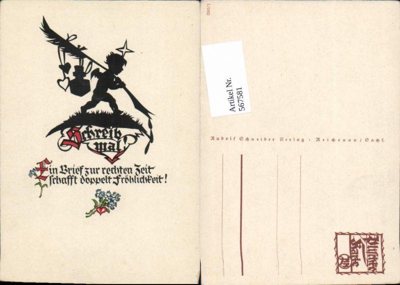 567581,Künstler AK Scherenschnitt Silhouette Amor Engel pub Georg Plischke 0482