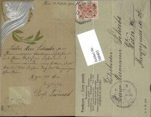 568403,tolle Künstler Präge Jugendstil AK Art Nouveau Frauenkopf