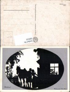 569232,Künstler AK Rolf Winkler München Scherenschnitt Silhouette