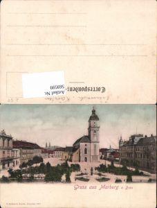 569599,Litho Marburg a. d. Drau Maribor Teilansicht Platz Kirche