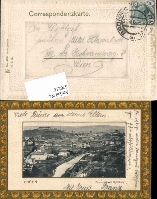 570216,tolle Präge Passepartout AK Brünn Brno Spielberg
