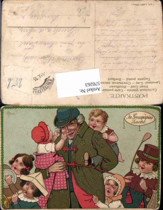 570263,Künstler AK P. Höfer Grossvater Kinder Grosspapas Zucht Humor Scherz