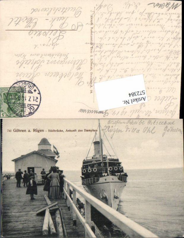 572384,Ostseebad Göhren auf Rügen Südbrücke Ankunft des Dampfers Dampfer