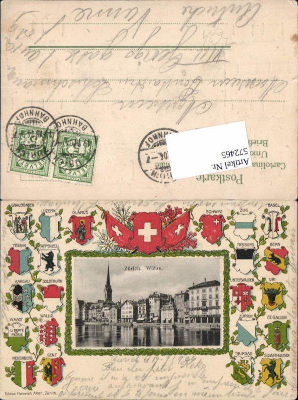 572465,tolle Präge Lithographie Zürich Wühre Wappen Kantone Schweiz