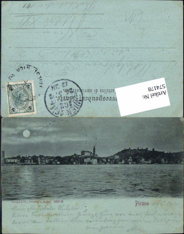 574178,Croatia Pirano Mond Lithographie pub Stengel & Co. 4830 M
