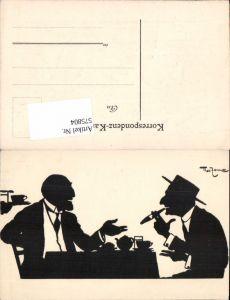 575804,Künstler AK Theo Zasche Scherenschnitt Silhouette Rauchen Zigarette