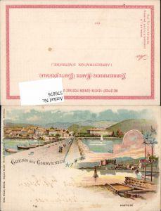 576876,Lithographie Gruß aus Cirkvenice Crikvenica pub Künzli