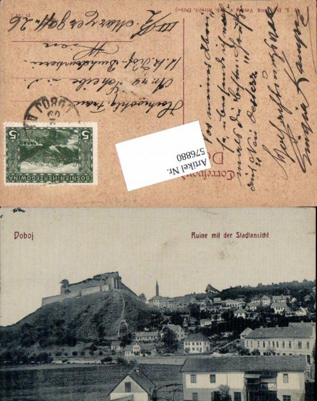 576880,Bosnia Hercegovina Doboj Ruine m. d. Stadtansicht
