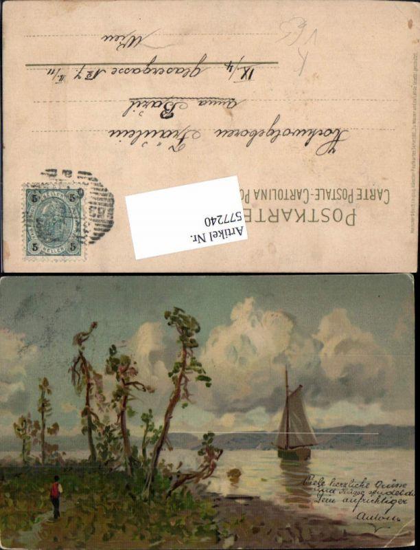 577240,Künstler AK Meissner & Buch 1182 Segelboot