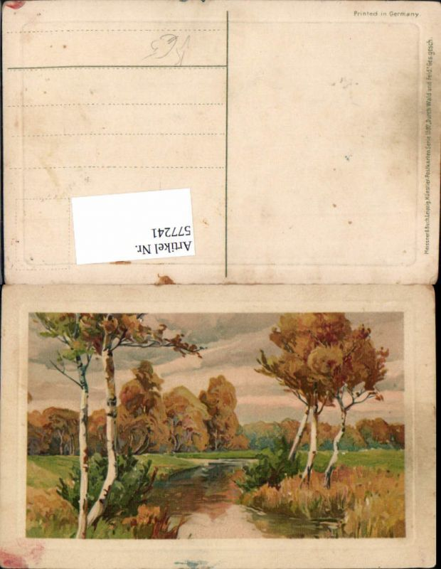 577241,Künstler AK Meissner & Buch 1597 Birken Baum Wald Bach