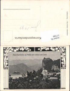 577289,Jugendstil Lithographie Bled Veldes Pfarrkirche Schloss Slovenia Krain
