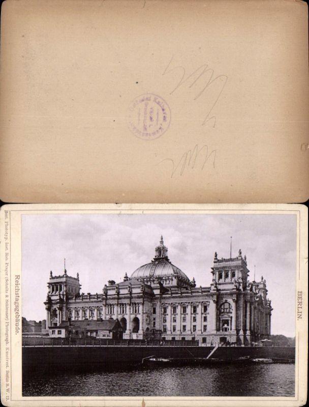 577360,Kabinett CDV Foto Berlin 1890 Reichstagsgebäude pub Rob. Prager