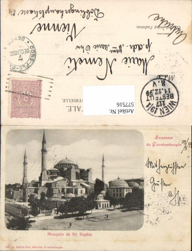 577516,Turkey Constantinople Istanbul Mosquee de Ste Sophie 1899