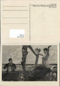 577601,Künstler AK Max Klinger Radierung Akt Erotik Nude Harfe