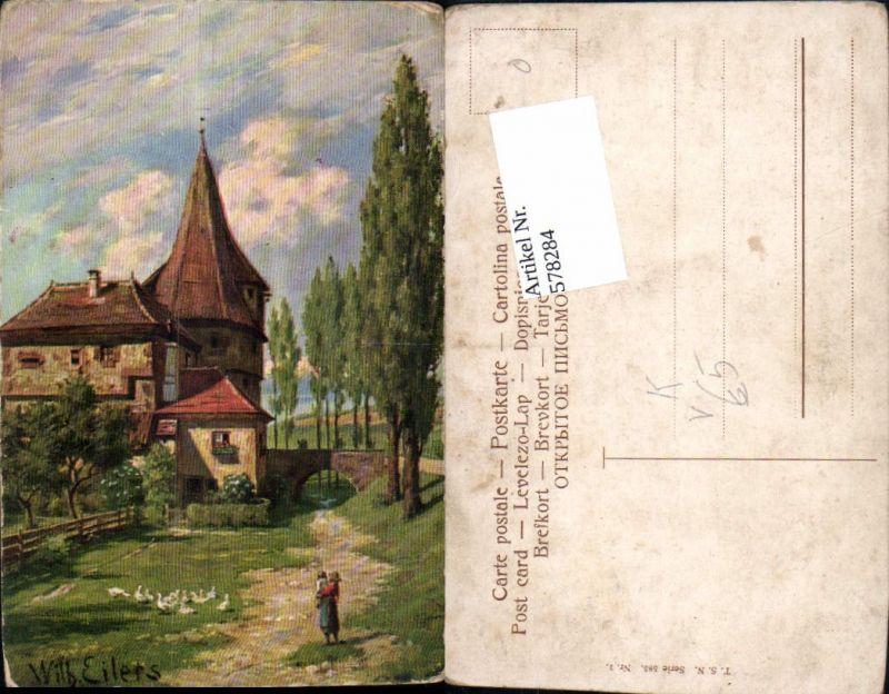 578284,Künstler AK Wilhelm Eilers Kirche Dorf pub Theo Stroefer 585-1