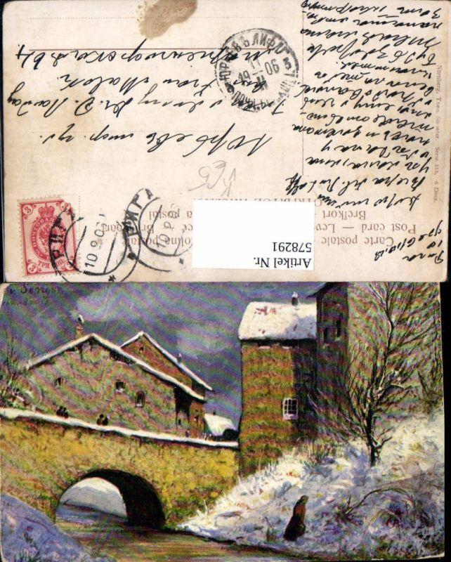 578291,Künstler AK v. Senger Bach Brücke Häuser pub Theo Stroefer 515