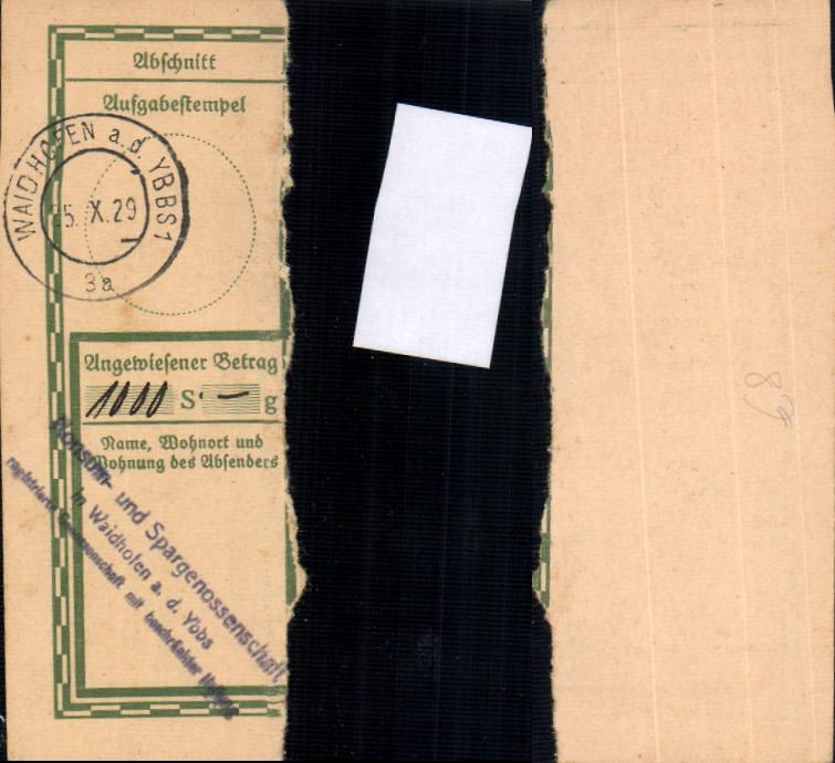 579348,Waidhofen an der Ybbs Postanweisung 1929 Konsum-und Spargenossenschaft