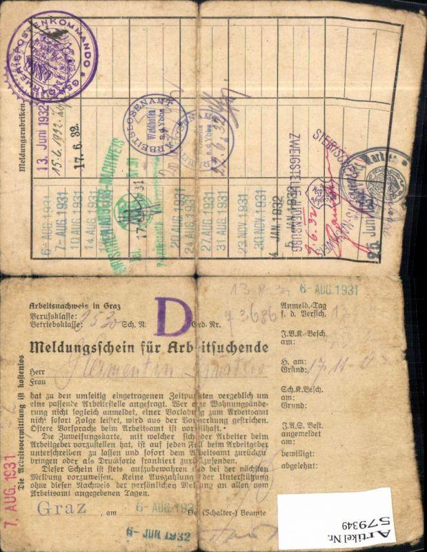 579349,Meldungsschein f. Arbeitssuchende Stp. Waidhofen an der Ybbs Judenburg