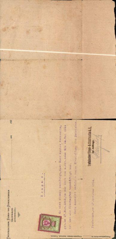 579364,Trofaiach Zeugnis Trofaiacher Eisen- und Stahlwerke 1924 Hermentin Gustav